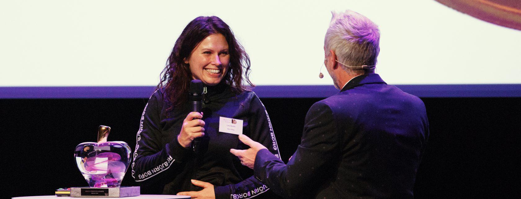 Björn Borg HR Director Lena Nordin accepting the award